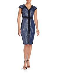Jax Zip Front Ribbed Panel Dress Blue