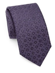 Saks Fifth Avenue Circle And Square Silk Cotton Tie Red Purple Grey