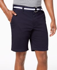 Club Room 9 Classic Fit Stretch Shorts Officer Navy