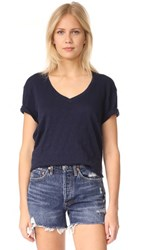 Atm Anthony Thomas Melillo Slub Jersey Boyfriend V Neck Tee Midnight
