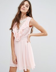 Wal G Lace Insert Skater Dress With Ruffles Pink