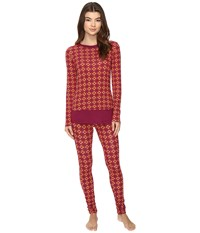 Josie Mingle Printed Modal Double Trouble Pj Red Blue Women's Pajama Sets