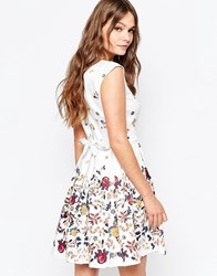 Closet Tie Back Dress In Digital Border Floral Print White