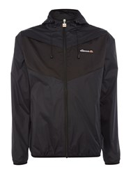 Ellesse Men's Hooded Tri Colour Zip Up Waterproof Jacket Black