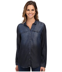 Calvin Klein Jeans Long Sleeve Denim Shirt Blue Ombre Women's Clothing