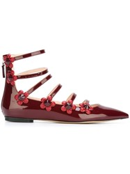 Fendi Flower Applique Ballerinas Red