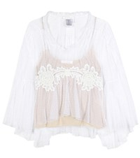 Chloe Lace Trimmed Tulle Blouse White