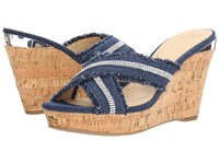 Guess Evalea Denim Women's Wedge Shoes Blue