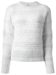 Jil Sander Striped Crew Neck Jumper White