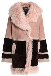 Roberto Cavalli Paneled Shearling And Suede Coat Antique Rose
