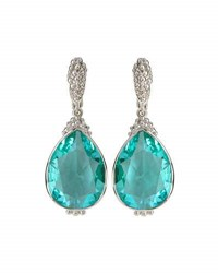 Judith Ripka Bermuda Pear Cut Spinel Drop Earrings Green