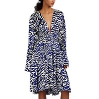 Prabal Gurung Tiger Striped Silk A Line Dress Navy