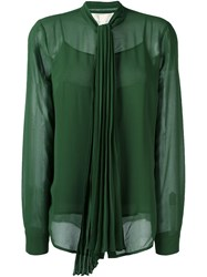 Michael Michael Kors Pleated Bow Blouse Green