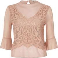 River Island Womens Light Pink Dobby Mesh Lace Bell Sleeve Top
