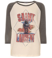 Saint Laurent Printed Cotton And Wool T Shirt Multicoloured