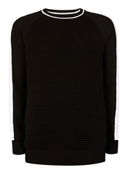Topman Black And White Ripple Textured Sweater