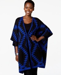 Ny Collection Oversize Aztec Print Poncho Cardigan