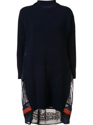 Sacai Calligraphy Embroidered Sweater Dress Blue