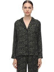 Love Stories Jude L Leopard Print Satin Pajama Shirt Black