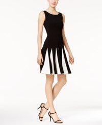 Tommy Hilfiger Contrast Pleated Scuba Fit And Flare Dress Black White