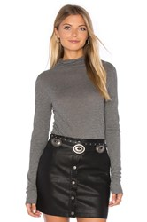 Velvet By Graham And Spencer Talisia Long Sleeve Turtleneck Top Gray