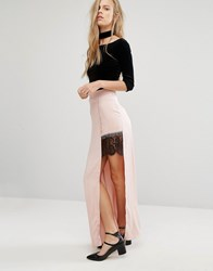 Miss Selfridge Satin Lace Split Maxi Skirt Pink