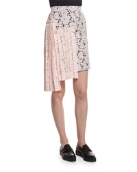 Msgm Lace Asymmetric Pleated Pencil Skirt Pink