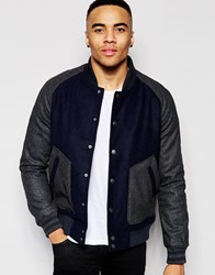 D Struct Fallow Wool Blend Contrast Sleeve Bomber Jacket Navy