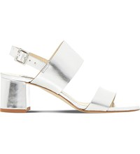 Dune Jester Metallic Leather Heeled Sandals Silver Leather