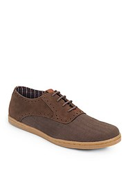Ben Sherman Presley Suede And Herringbone Oxfords Chocolate Tweed