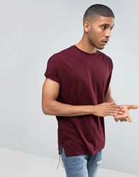 Asos Super Oversized Longline T Shirt With Contrast Side Zips With Faux Leather Ties In Red Rosewood