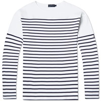 Armor Lux Long Sleeve Saint Guenole Tee White And Navy