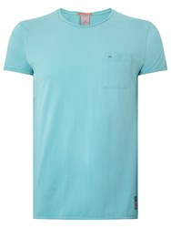 Scotch And Soda Garment Dyed Twisted Crew Neck T Shirt Surf Blue
