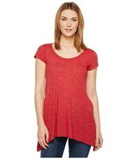 Allen Allen S S Slub Tunic Rio Women's Blouse Red