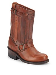 Frye Engineer Buckle Trim Leather Boots Tan