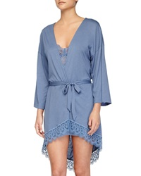 Cosabella Edith Lace Trim Short Robe Blue Flower
