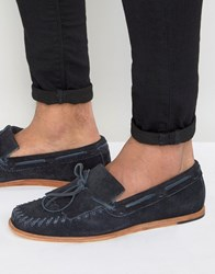 Hudson H By Manuel Suede Loafers Navy