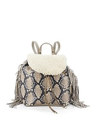 Sam Edelman Sheep Shearling Drawstring Fringed Backpack Natural