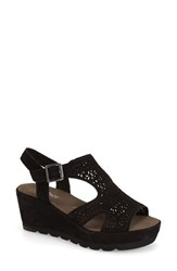 Women's Gabor Perforated Wedge Sandal Black Nubuck Leather