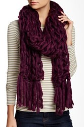 Leto Oversized Knit Tassel Scarf Purple