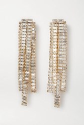 Rosantica Barlume Crystal And Gold Tone Clip Earrings Silver