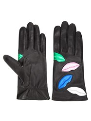 Faith Connexion Embroidered Lips Gloves Black
