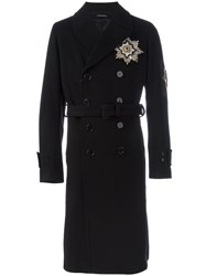 Alexander Mcqueen Military Badge Double Breasted Coat Black