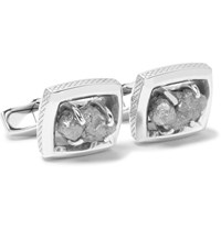 Tateossian Signature Ruthenium Plated Rough Diamond Cufflinks Gray