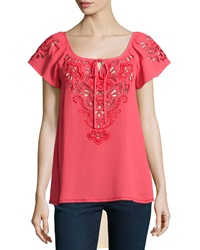 Nanette Lepore Short Sleeve Embroidered Peasant Top Coral