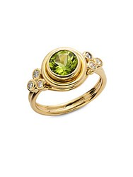 Temple St. Clair Diamond Peridot And 18K Gold Ring Yellow