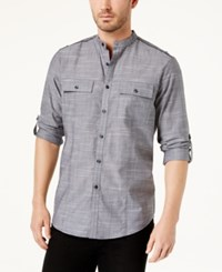 Inc International Concepts Men's Chambray Band Collar Shirt Created For Macy's Grey Combo