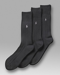 Polo Ralph Lauren Men's 3 Pack Solid Ribbed Slack Socks Black