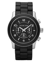 Michael Kors Runway Stainless Steel And Black Rubber Chronograph Bracelet Watch