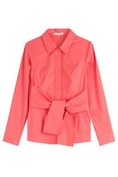 Paule Ka Belted Cotton Shirt Red